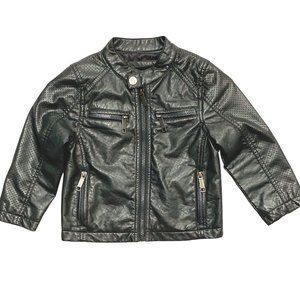 Urban Republic Grey Perforated Faux Leather Jacket